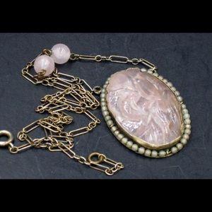 Art Deco Carved Rose Quartz Sterling Necklace